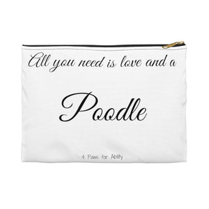 Love and A Poodle Zipper Pouch