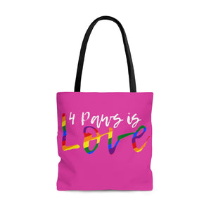 Print on Demand - 4 Paws is Love Pink Tote Bag