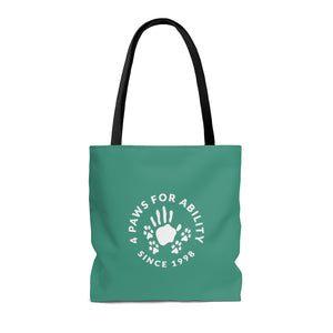 Print on Demand - 4 Paws is Love Teal Tote Bag