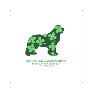 Print on Demand - Lucky Newfie Ret  Square Stickers