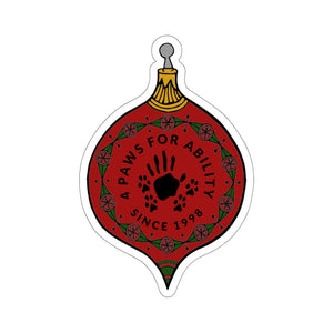 Print on Demand - 4 Paws Christmas Bauble Sticker (Kiss Cut)