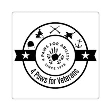 Print on Demand - 4 Paws Veterans Square Black and White Sticker
