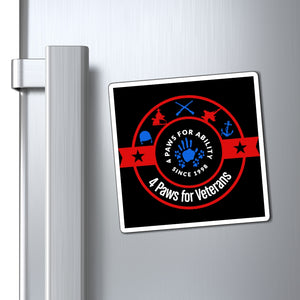 Print on Demand - 4 Paws for Veterans Red, White, and Blue Magnet