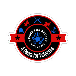 Print on Demand - 4 Paws Veterans Sticker Red White and Blue (Kiss Cut)
