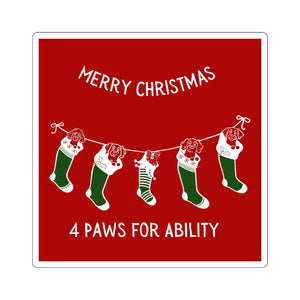 Print on Demand - 4 Paws Christmas Sticker