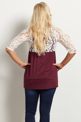 Burgundy Ivory Lace Top 3/4 Sleeve Maternity Top
