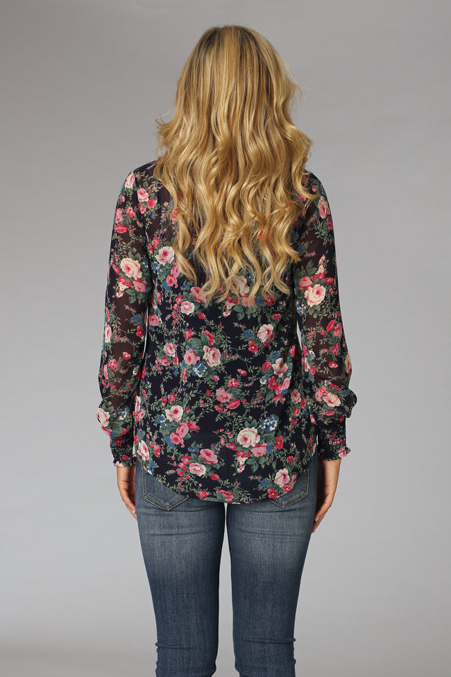 Navy Blue Floral Chiffon Blouse