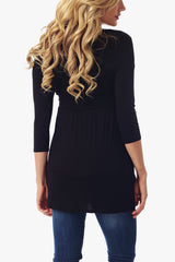 Black Cutout Neckline 3/4 Sleeve Maternity Top