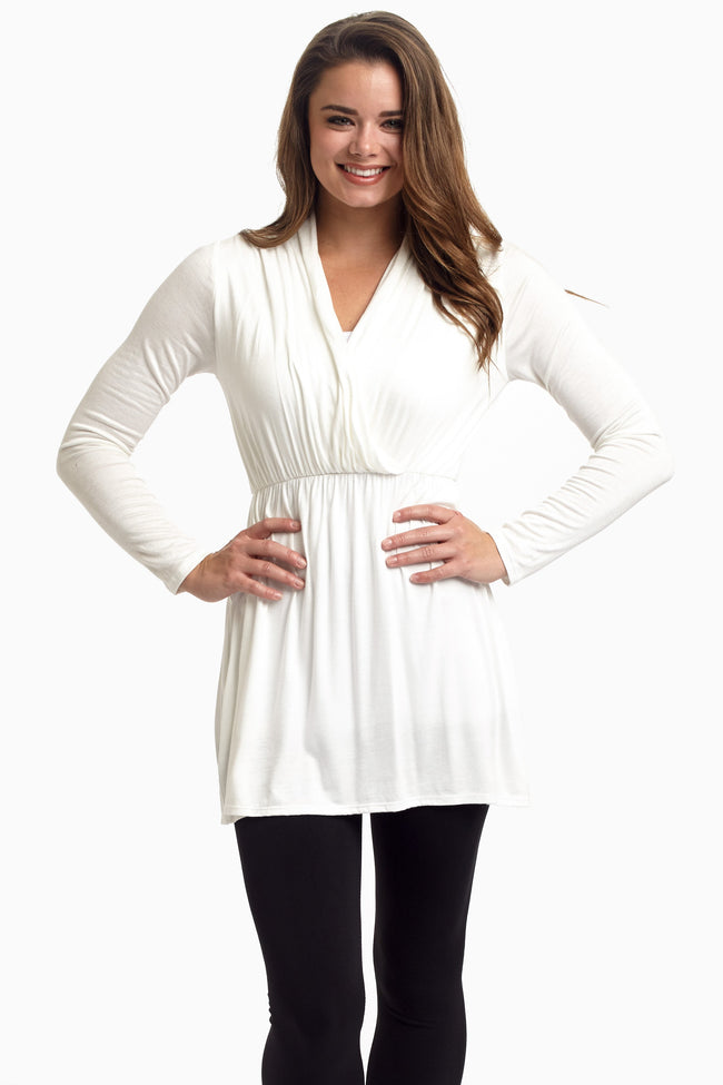 White Long Sleeve Maternity/Nursing Top