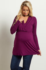 Purple Long Sleeve Maternity/Nursing Top