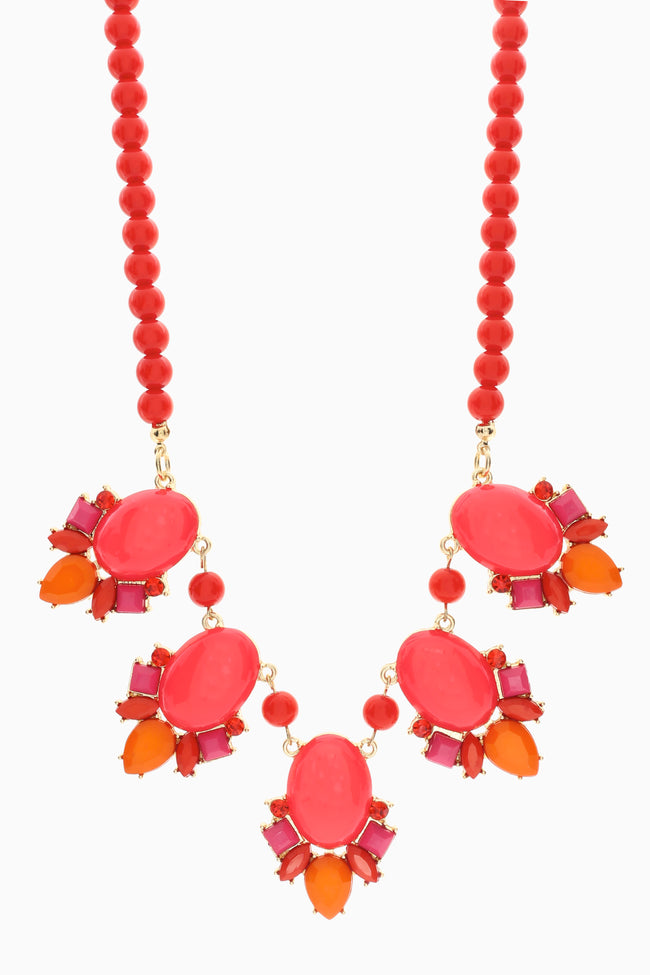 Red Pink Beaded Gem Necklace/Earring Set