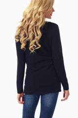 Navy Blue Lace Top Knit Maternity Top