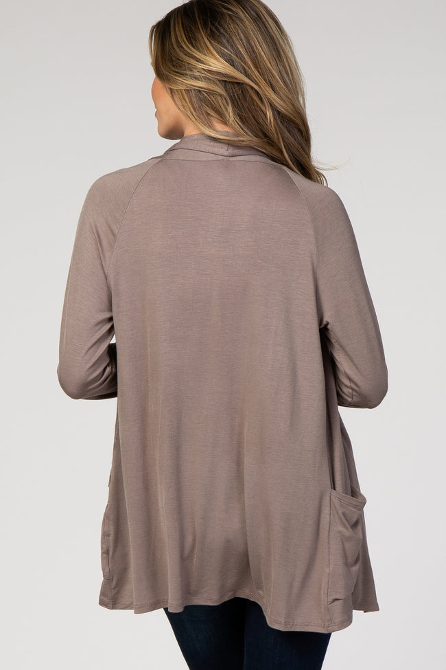 Brown Flowy Front Cardigan