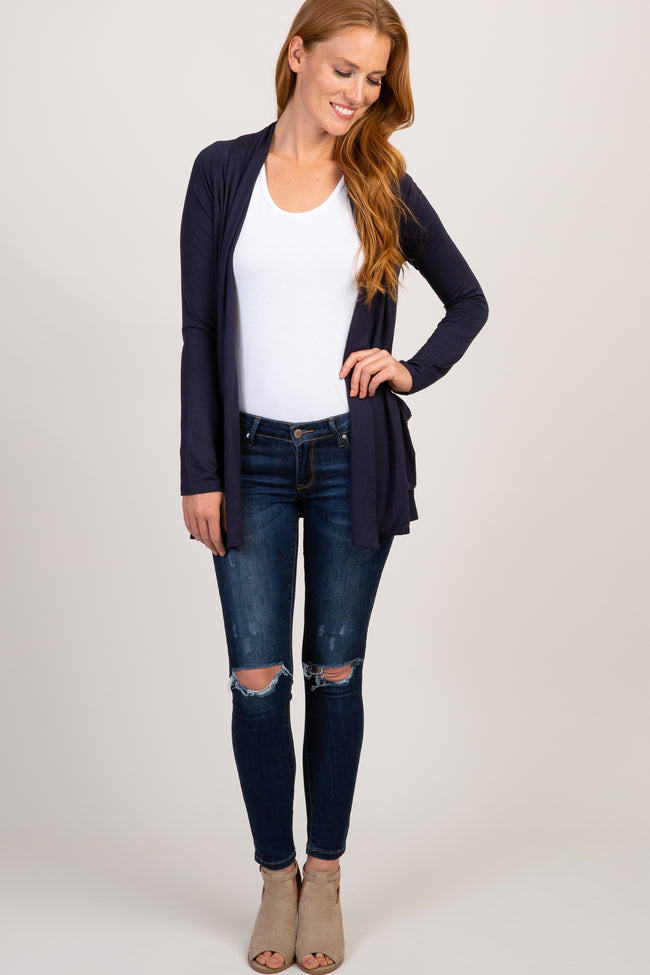 Navy Blue Flowy Front Maternity Cardigan