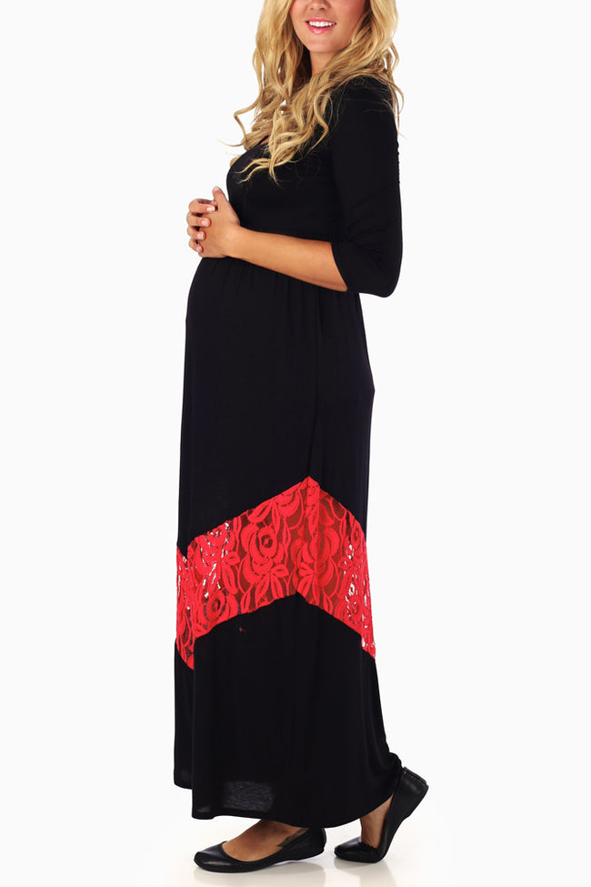 Black Red Lace Chevron 3/4 Sleeve Maternity Maxi Dress