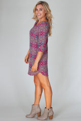 Magenta Aqua Printed 3/4 Sleeve Dress