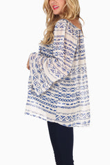 Blue Tribal Printed Semi-Sheer Chiffon Bell Sleeve Maternity Top