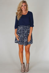 Navy Blue Printed Colorblock Chiffon Dress