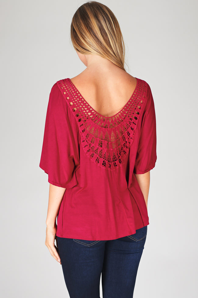 Burgundy Crochet Back Flowy Top