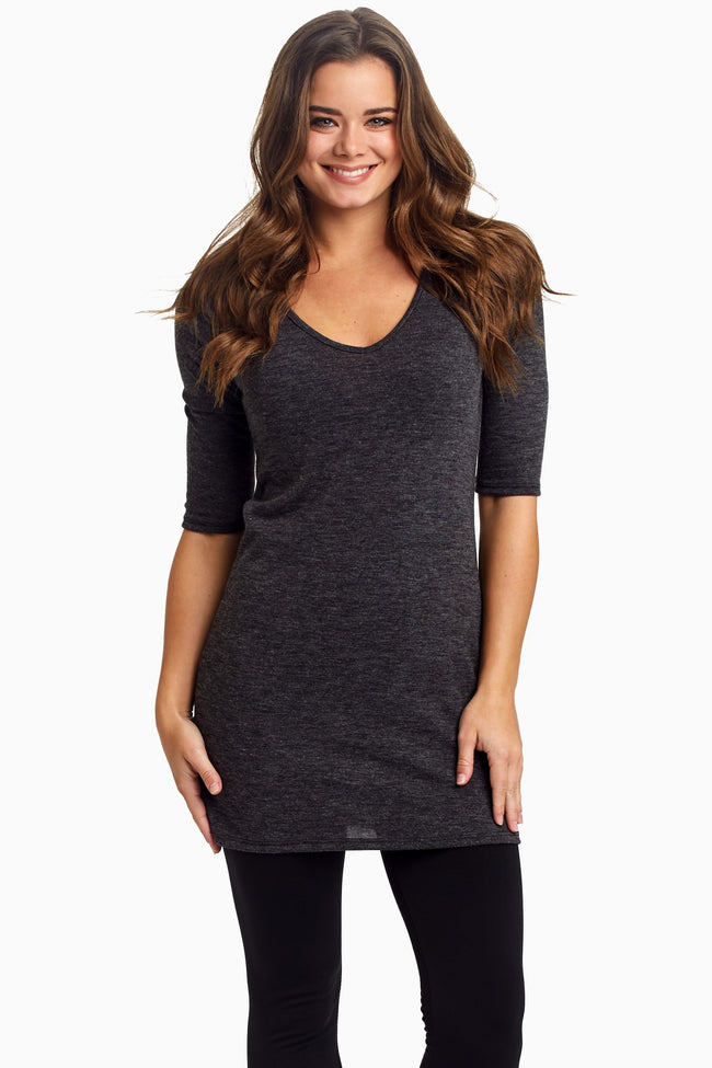 Charcoal 3/4 Sleeve Fitted Maternity Top
