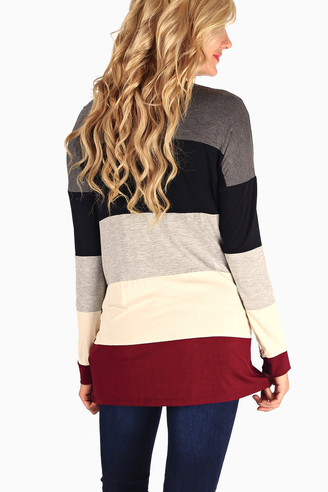 Burgundy Grey Black Colorblock Long Sleeve Maternity Top