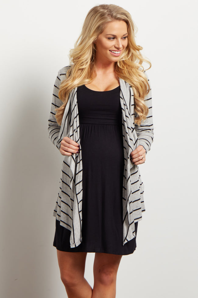 Grey Black Striped Flowy Maternity Cardigan