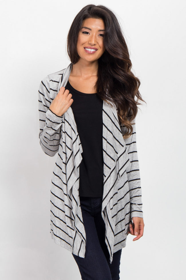 Grey Black Striped Flowy Cardigan