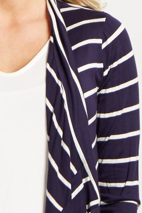 Navy Blue White Striped Flowy Maternity Cardigan