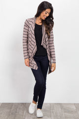 Mocha Black Striped Flowy Cardigan