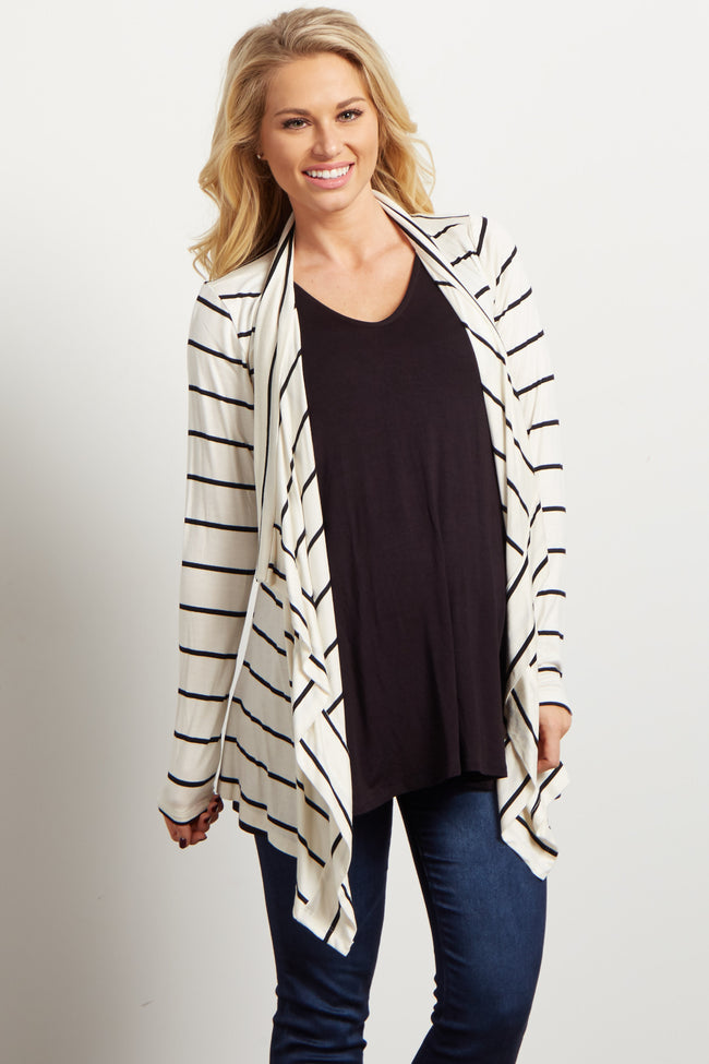 White Black Striped Flowy Maternity Cardigan