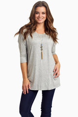 Grey Braided Accent 3/4 Sleeve Maternity Top