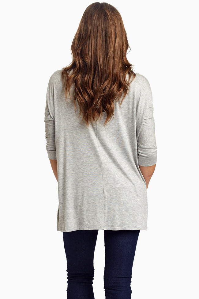 Grey Braided Accent 3/4 Sleeve Top