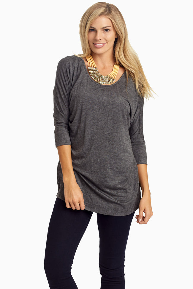 Charcoal Braided Accent 3/4 Sleeve Maternity Top