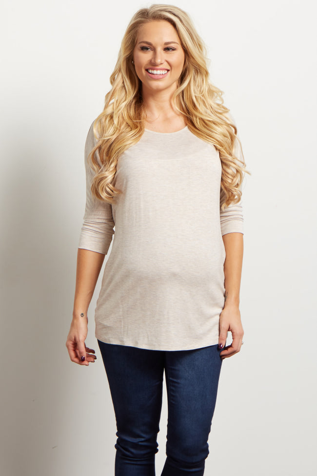 Oatmeal Braided Accent 3/4 Sleeve Maternity Top