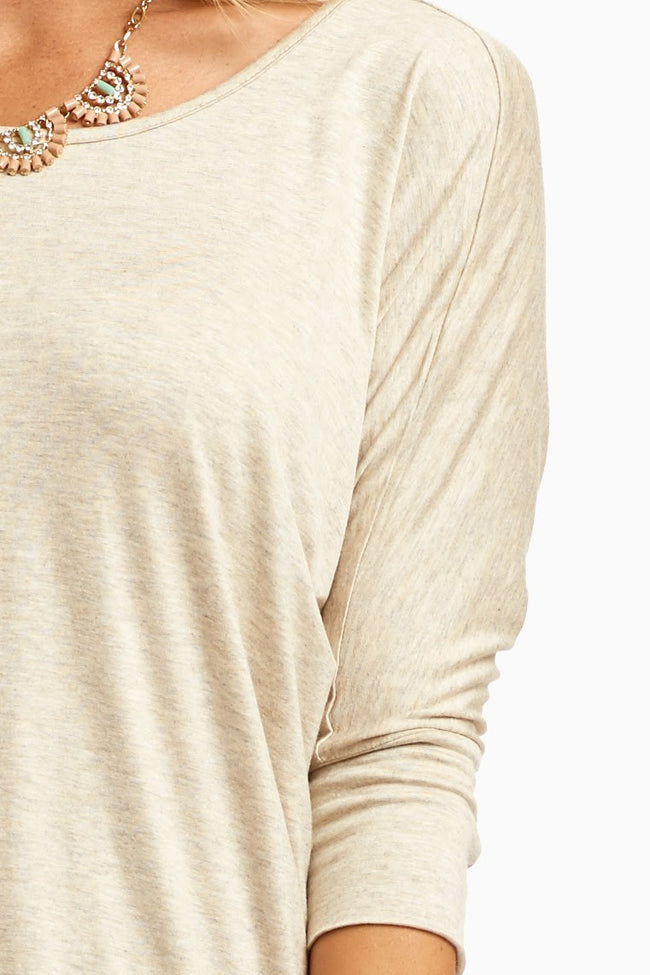 Oatmeal Braided Accent 3/4 Sleeve Top