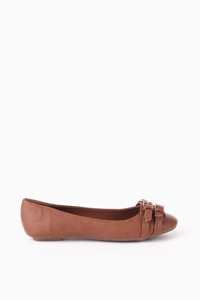 Brown Faux Leather Gold Buckle Flat