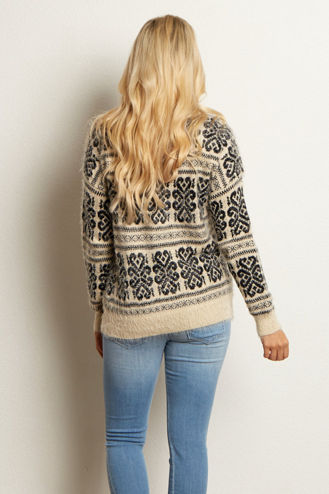 Ivory Black Printed Fuzzy Knit Maternity Sweater