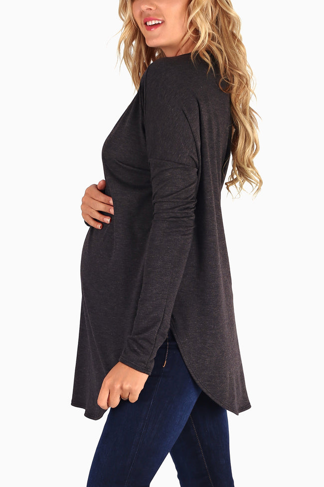 Charcoal Knit Long Sleeve Maternity Top