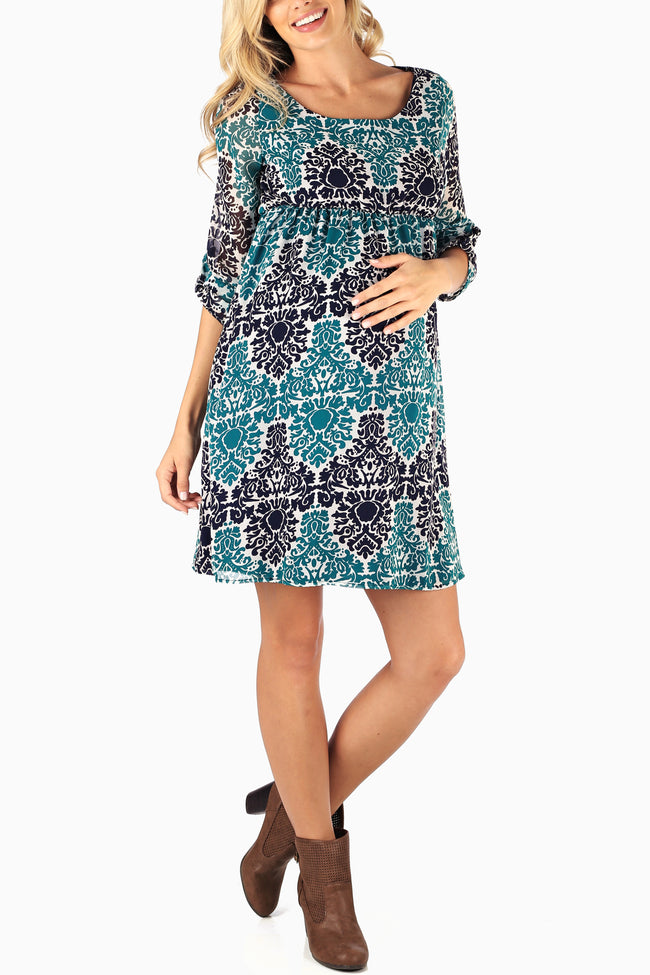 Navy Blue Teal Printed Chiffon Maternity Dress