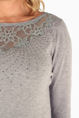 Grey Jeweled Lace Neckline Maternity Sweater