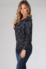 Charcoal Cheetah Print Long Sleeve Top