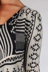 Black Beige Sparkle Tribal Print Cardigan