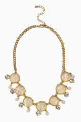 Ivory Iridescent Rhinestone Accent Necklace/Earring Set