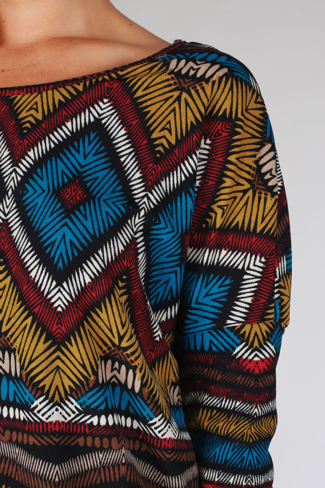 Black Multi-Colored Abstract Printed Long Sleeve Top