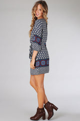 Navy Blue Damask Printed Border Dress