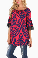 Navy Blue Red Printed Crochet Trim Maternity Blouse