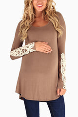 Mocha Crochet Accent Maternity Top