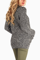 Black Grey Knit Button Up Maternity Cardigan