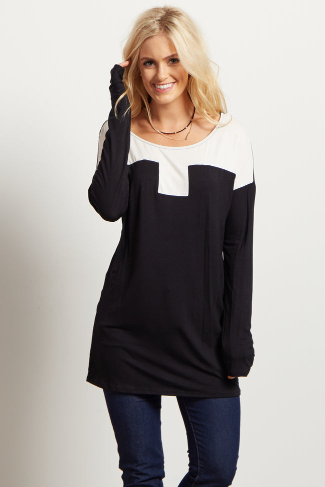 Black White Colorblock Maternity Top