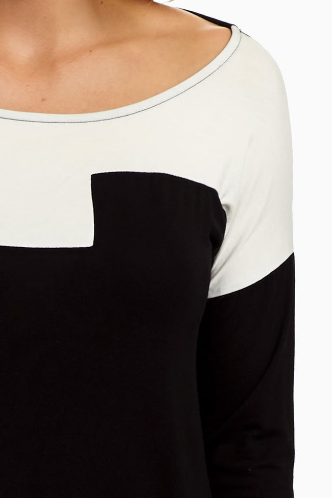 Black White Colorblock Top